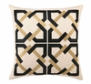 Trina Turk Geometric Tile Embroidered Taupe & Black Pillow