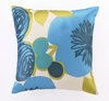 Trina Turk Multi Floral Embroidered Blue Pillow