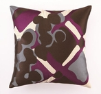 Trina Turk Painterly Plaid Embroidered Purple Pillow