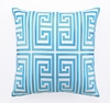 Trina Turk Turquoise Greek Key Embroidered Pillow