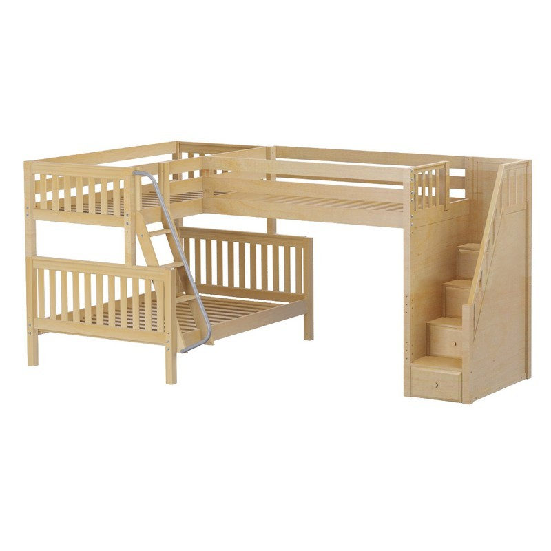 Beds gt triology corner loft twin over full bunk bed with staircase