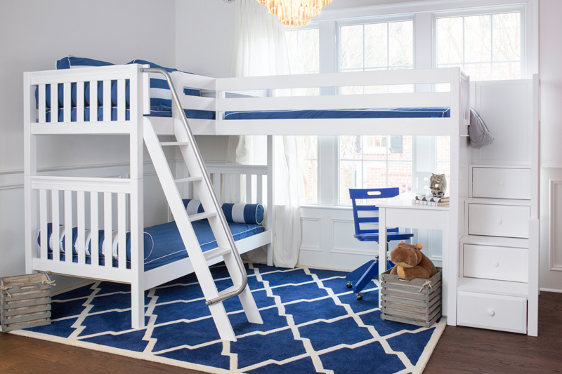 Triology Corner Loft Twin Over Full Bunk Bed With Staircase