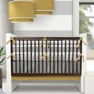 Triple Band Three-Piece Crib Set in Stone and Citron