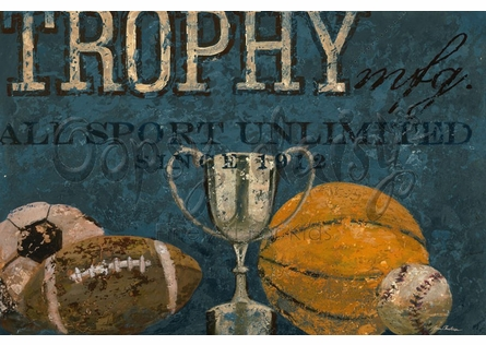 Trophy All Sports Canvas Wall Art in Blue