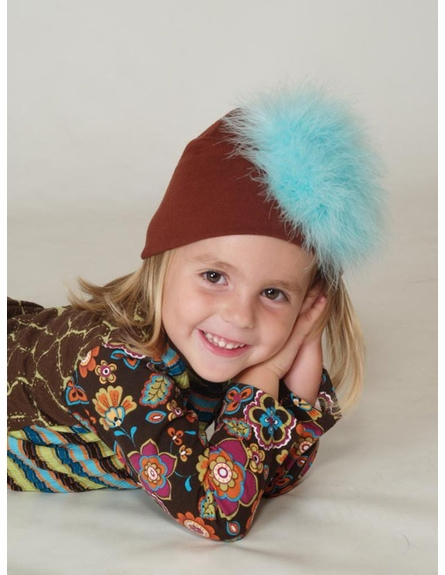 Truffle Cotton Hat with Teal Marabou