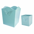 Turquoise Butterfly Waste Basket and Tissue Box Set