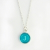 Turquoise Color Personalized Initial Necklace