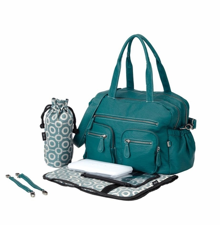 Turquoise Faux Buffalo Carry All Diaper Bag