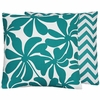 Turquoise Floral Large Throw Pillow