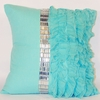 Turquoise Jewel and Chiffon Ruffle Throw Pillow
