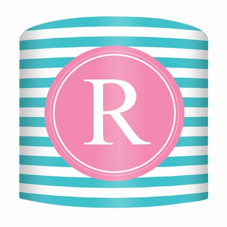 Turquoise & Pink Striped Monogram Lamp