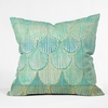 Turquoise Scallops Throw Pillow