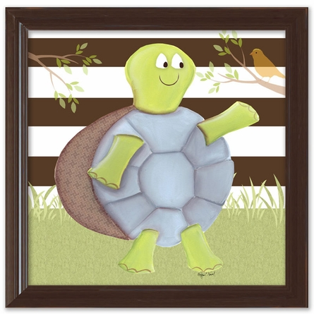 Turtle on Stripes Canvas Reproduction