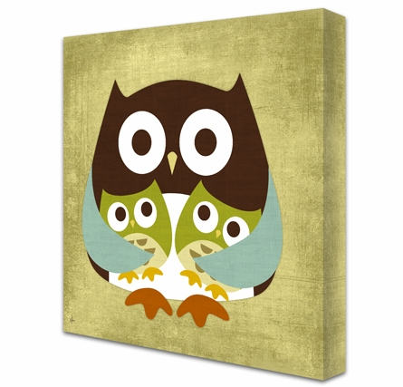 Twice Blessed Owls Canvas Reproduction
