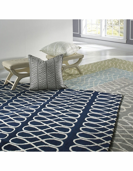 Twirl Rug in Dark Blue Cream