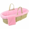 Twisted Fur Moses Basket Set in Pink