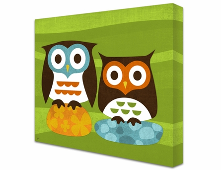 Two Owls Two Rocks Canvas Reproduction