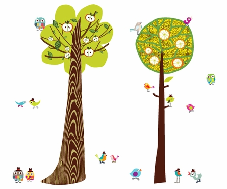 Two Tall Trees Fabric Wall Decals
