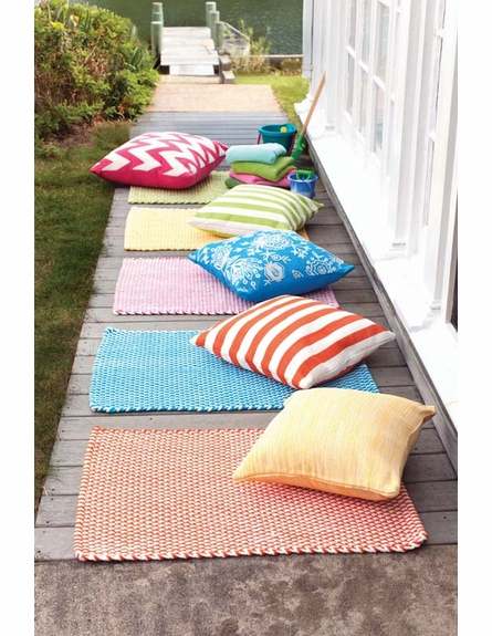 Two Tone Rope Indoor/Outdoor Rug in Tangerine and White