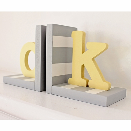 Typewriter Initial Striped Bookends