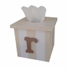 Typewriter Initial Striped Tissue Box Cover