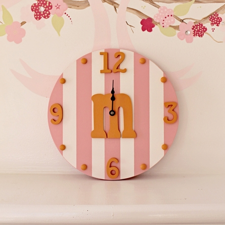 Typewriter Initial Striped Wall Clock