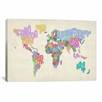 Typographic Text World Map Canvas Wall Art