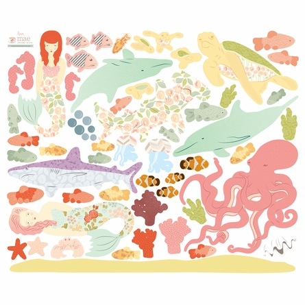 Under the Sea Girly Fabric Wall Decals