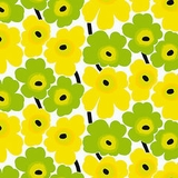 Unikko Green and Yellow Blooms (100% Cotton)