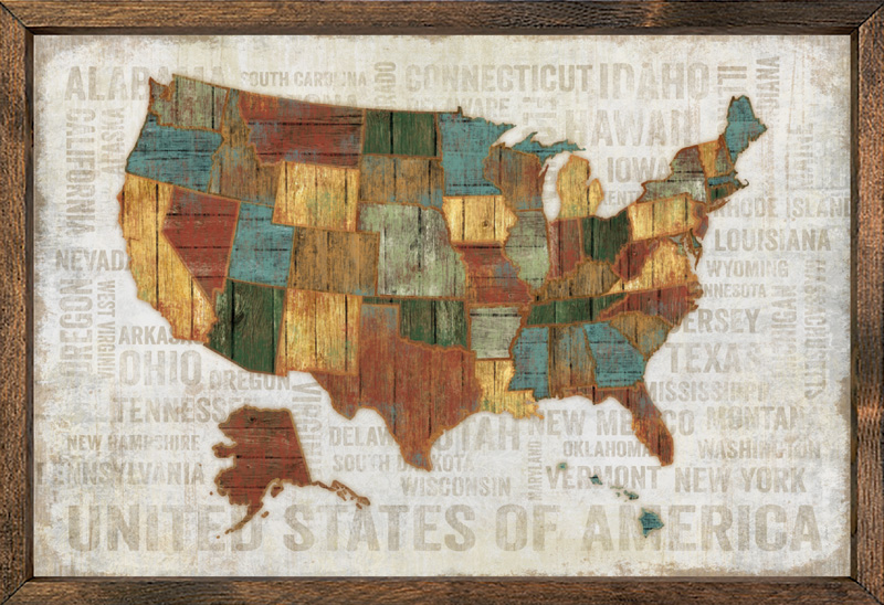 Us Map Framed - Large framed us map