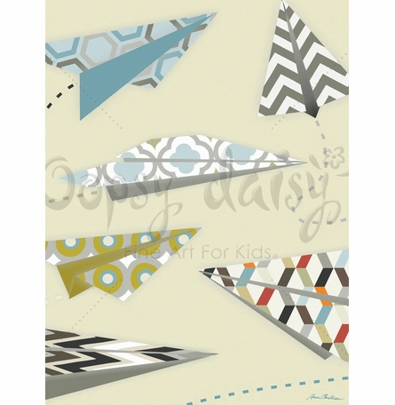 Up & Away Paper Airplanes Canvas Wall Art