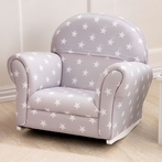 Upholstered Rocker - Gray with Stars