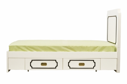 Uptown Twin Bed - Cream with Black Molding