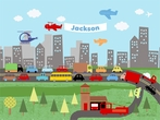 Urban Commute By Car And By Air Canvas Wall Art