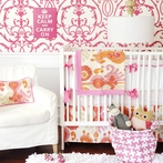 Urban Ikat in Fuchsia Crib Bedding Set