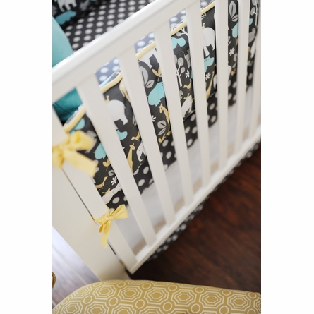 Urban Zoo in Gray Crib Bedding Set
