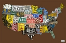 USA License Plate Map - Chocolate Canvas Wall Art