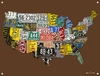 USA License Plate Map - Chocolate Canvas Wall Mural
