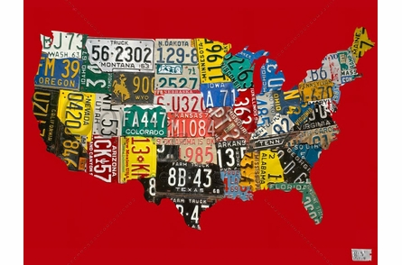 USA License Plate Map - Red Canvas Wall Art