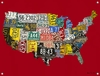 USA License Plate Map - Red Mural Banner