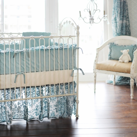 Velvet Baby in Aqua Crib Skirt