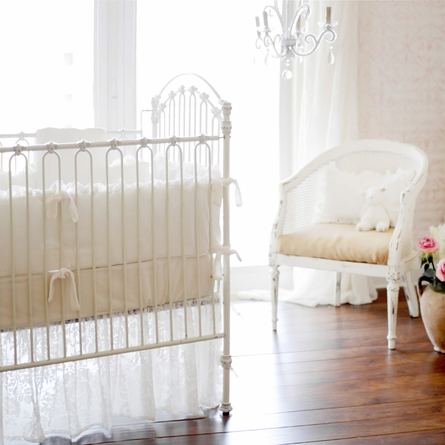 Velvet Baby in Ivory Crib Skirt