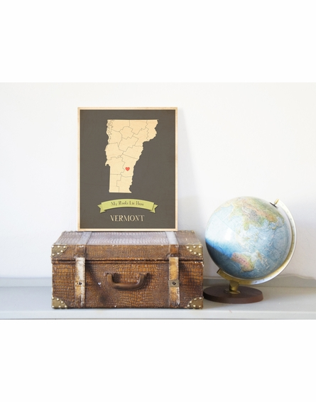 Vermont My Roots State Map Art Print - Blue