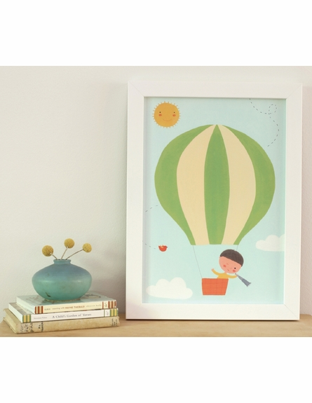 View From Above Green Balloon Framed Canvas Wall Art