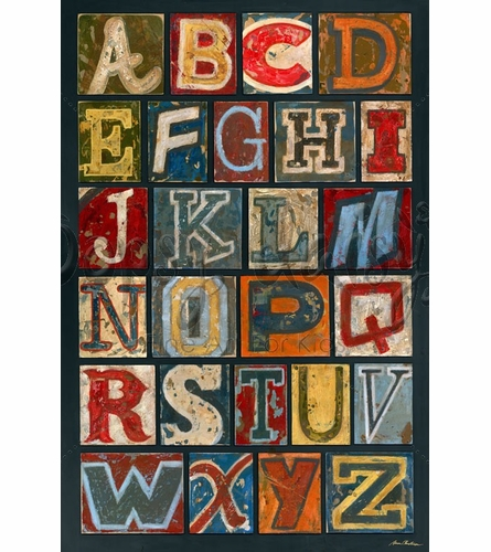 Vintage Alphabet Canvas Wall Art