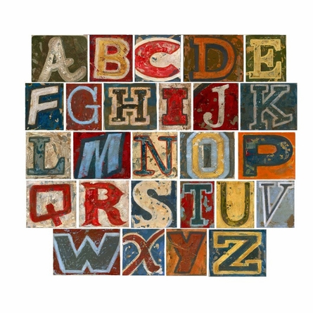 Vintage Alphabet Peel & Place Wall Stickers