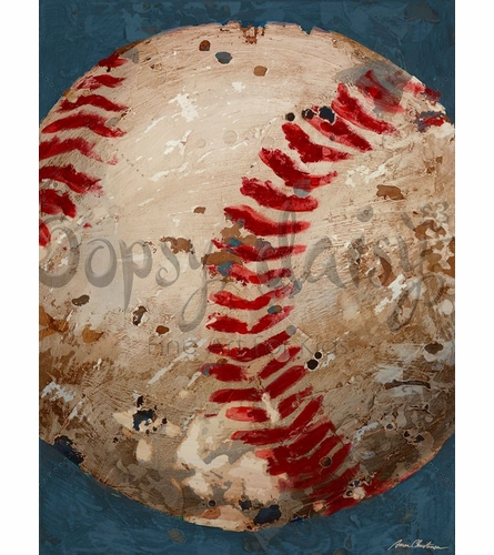 Vintage Baseball Canvas Wall Art in Blue
