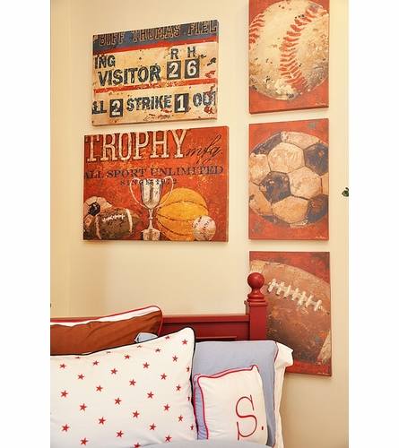 Vintage Baseball Canvas Wall Art in Red