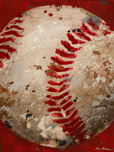 Vintage Baseball Canvas Wall Art In Red By Oopsy Daisy