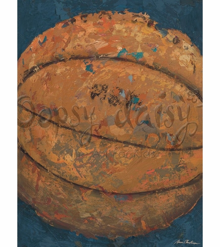 Vintage Basketball Canvas Wall Art in Blue